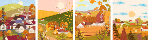 Set of cartoon flat autumn season village and town vector. Birds flying, haystacks, mountains