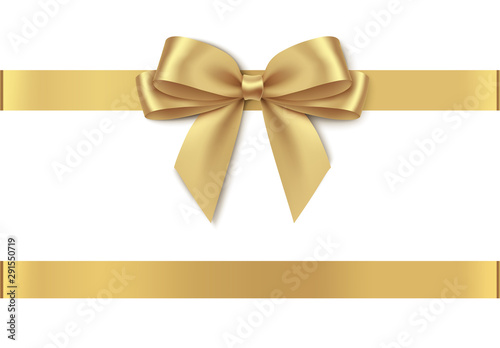 Cuadros en Lienzo  Decorative golden bow with horizontal ribbon isolated on white background
