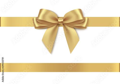 Fotografie, Obraz  Decorative golden bow with horizontal ribbon isolated on white background