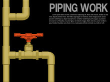 Pipe And Valve On Black Background