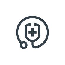 Medic Stethoscope Concept Logotype Template Design. Business Logo Icon Shape. Medic Stethoscope Simple Illustration