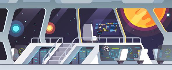 Interstellar spaceship main bridge big window view