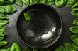 spinach (green grass, vitamins salad) menu concept. food background. copy space. Top view
