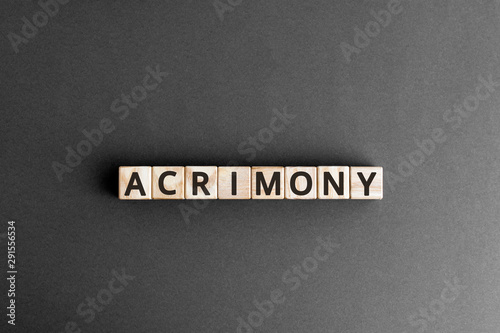 Acrimony word from wooden blocks with letters, bitter full of anger acrimony con Wallpaper Mural