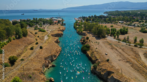 Aerial bird's eye view photo taken by drone of stand up paddle surfers in annual Tablou Canvas