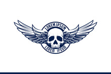 Skull With Wing Vector Emblem ...