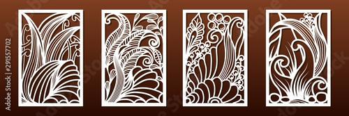 Fototapeta Laser cut panels, vector. Template or stencil for  metal cutting, wood carving, paper art, fretwork obraz