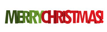MERRY CHRISTMAS Red And Green Vector Typography Banner
