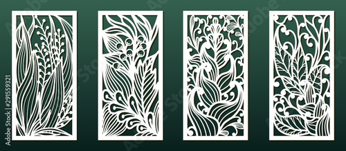 Photo  Laser cutting templates with floral pattern, vector set for card or panel decor
