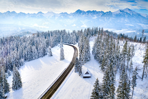 Valokuva Winter landscape with road