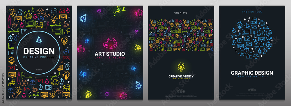 Fototapeta Art Studio, Graphic Design, Creative Agency and Vector Graphic. Set of Backgrounds with doodle design elements.