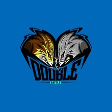 Double Fox Mascot Logo