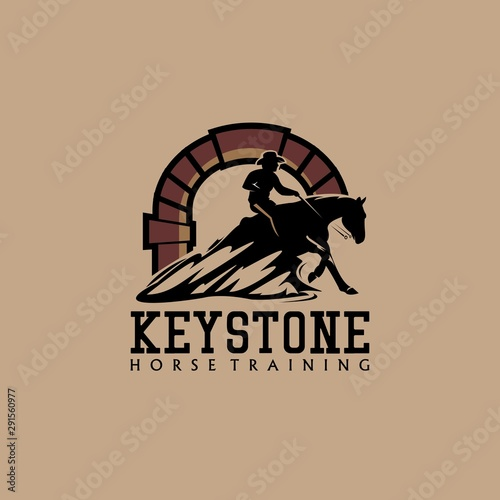 keystone horse training logo initial Fototapet