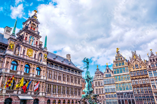 Grote Markt square with famous Statue of Brabo and medieval guild houses in Antw Wallpaper Mural