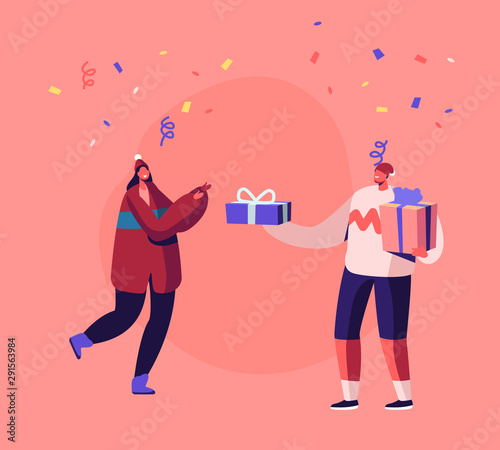 Fototapety, obrazy: Cheerful Man in Knitted Sweater and Santa Hat Giving Present to Young Happy Woman on Christmas or New Year Party Celebration with Confetti Flying on Winter Holidays. Cartoon Flat Vector Illustration