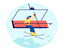Pretty Woman Skier Go Up Hill ...