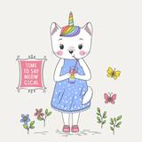 Cute unicorn cat girl drinking rainbow juice. Cartoon vector illustration