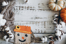 Pumpkins And Scarecrow On Whitewashed Background
