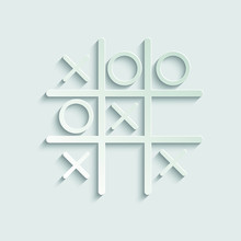 Tic Tac Toe  Icon. X O Icon Vector  Paper Icon  With Shadow