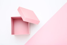 Open Pink Gift Box On Colorful...