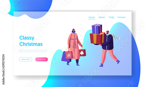 Fototapety, obrazy: Christmas and New Year Sale and Shopping Website Landing Page. Preparation for Winter Holidays. Happy Characters Walking with Gift Boxes and Paper Bags Web Page Banner Cartoon Flat Vector Illustration