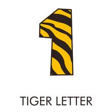 Logotipo Número 1 Con Patrón De Piel De Tigre En Amarillo Y Marrón