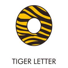 Logotipo Número 0 Con Patrón De Piel De Tigre En Amarillo Y Marrón