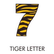 Logotipo Número 7 Con Patrón De Piel De Tigre En Amarillo Y Marrón