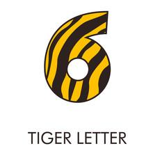 Logotipo Número 6 Con Patrón De Piel De Tigre En Amarillo Y Marrón