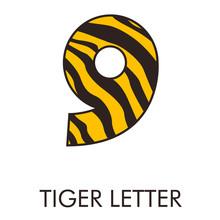 Logotipo Número 9 Con Patrón De Piel De Tigre En Amarillo Y Marrón