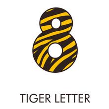 Logotipo Número 8 Con Patrón De Piel De Tigre En Amarillo Y Marrón