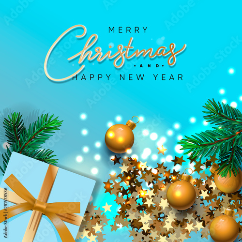 merry christmas and happy new year banner xmas design of sparkling lights garland with realistic gifts box green pine branch glitter gold confetti christmas poster vector illustration buy this stock vector sparkling lights garland