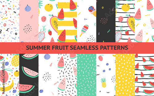 Vector tropical fruit background collection set with pineapple, mango, watermelon, dragon fruit, Pitaya, banana, papaya. Summer exotic fruit seamless pattern with memphis style elements - 291578993