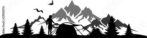 Fotografie, Obraz  Camping Nature Skyline Silhouette Vector