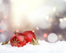 Red Shiny Decorative Christmas Balls On White Background