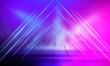 canvas print picture - Empty scene in ultraviolet with rays and neon light. Abstract background, tunnel, room, corridor.