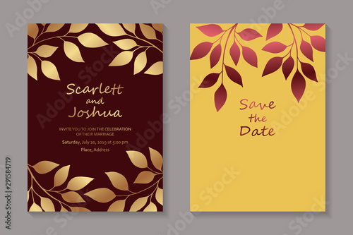 Fototapety, obrazy: Set of luxury floral wedding invitation design or greeting card templates with golden branches and leaves on red and yellow backgrounds.