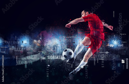 Fotomural  Football scene of a soccer player in action