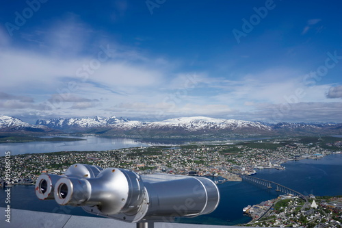 Tromso, Norway with bridge and cruise ship in foreground and airport in backgrou Fototapet