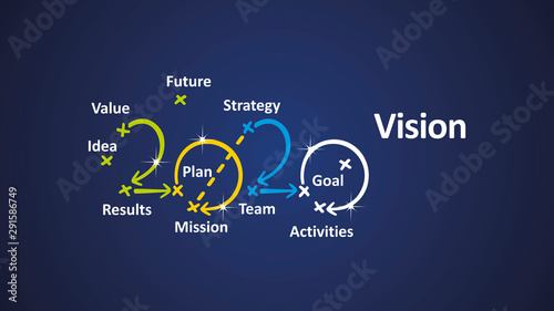 Obraz Vision 2020 word cloud arrows blue background vector - fototapety do salonu
