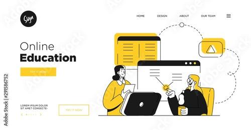 Obraz Presentation slide template or landing page website design. Business concept illustrations. Modern flat outline style. Online education courses - fototapety do salonu