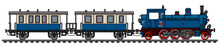 The Vectorized Hand Drawing Of A Vintage Blue Passenger Steam Train
