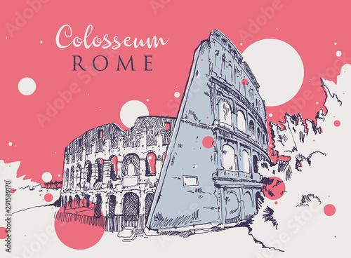 Fototapeta  Drawing sketch illustration of the Colosseum