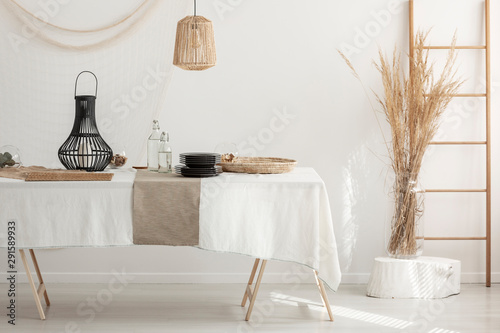 Horizontal view of rustic dining room interior design