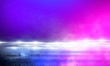 Leinwandbild Motiv Empty scene in ultraviolet with rays and neon light. Abstract background, tunnel, room, corridor.