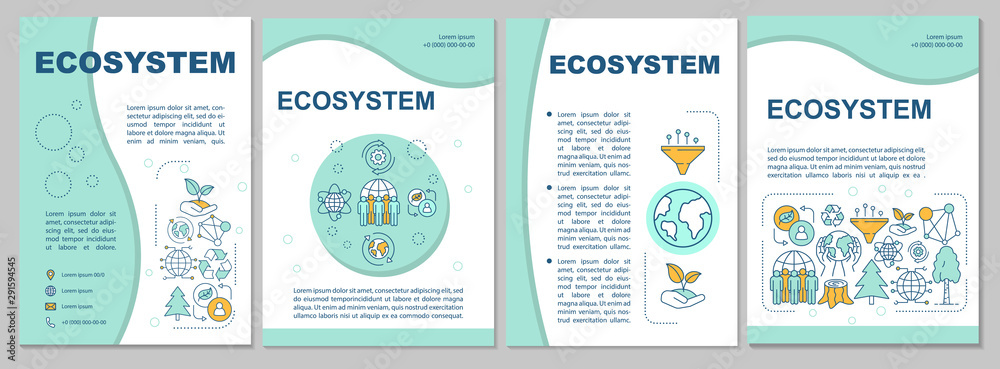Fototapeta Ecosystem brochure template. Flyer, booklet, leaflet print, cover design with linear illustrations. Environmental conservation. Vector page layouts for magazines, annual reports, advertising posters