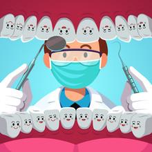 Dentist Man Examining Patient Teeth Inside Mouth