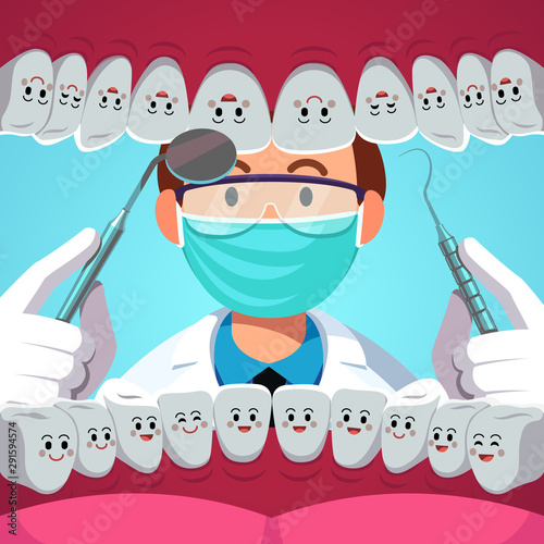 Dentist man examining patient teeth inside mouth