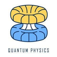 Quantum Physics Color Icon. Nuclear Energy Phenomenon. Futuristic Nanotechology. Quantum Mechanics Theoretical Model. Nuclear Fusion. Major Physics Branch. Isolated Vector Illustration