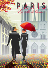Loving Couple In Paris In The Fall And The Notre Dame Cathedral In The Background.